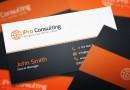 オレンジとブラックのコントラストが目を引くスタイリッシュ名刺テンプレート(PSD)