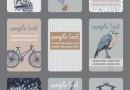 落ち着いた色調のレトロデザイン名刺9種類SET(EPS)
