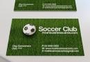 芝のグリーンがきれいなサッカークラブの名刺テンプレート(PSD)