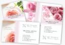 背景にお花の画像をあしらった華やかな名刺テンプレート(PSD)