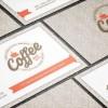 カフェやコーヒー関連ビジネスに最適!ヴィンテージなおしゃれ名刺テンプレート。