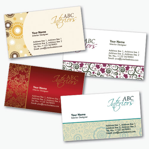 Interior decorating business cards